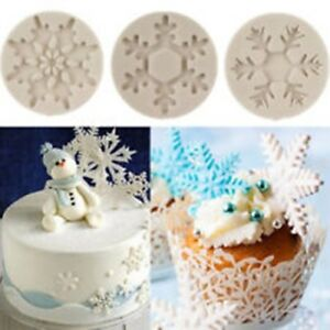 5 Snowflake Silicone Moulds Christmas Decorating Fondant Icing Jewellery Resin