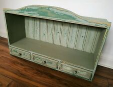 Vintage Solid Pine Painted Wooden Dresser Bookcase Kitchen Wall Unit