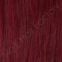 "1 x 18 Inches Long 18"" Clip In 100% Human Hair Extensions Dark Burgundy 99j#"