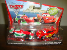 Disney---Cars 2---Francesco Bernoulli & Lightning McQueen--Party Wheels--Diecast