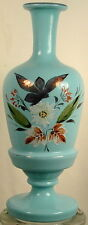 LIGHT BLUE GLASS COLOGNE BOTLE HAND PAINTED FLOWERS PONTIL