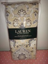 RALPH LAUREN Set of 4 Square Floral NAPKINS Beige Gray 100% Cotton 20 in x 20 in