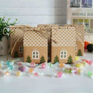 10/20Pcs Christmas House Shape Candy Bags Christmas Gift Box Cookie Bags Party