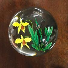 Ken ROSENFELD 2002 Double Yellow Orchids / Iris ART Glass PAPERWEIGHT
