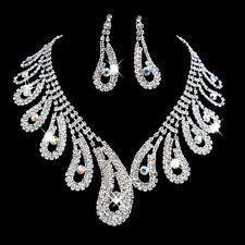 Diamante Rhinestone Wedding Bride Bridal Necklace Earrings Jewellery Set Party