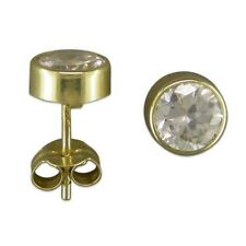 Solid 9ct Gold Cubic Zirconia Stud Earrings, 6mm, rub over, Round, New,
