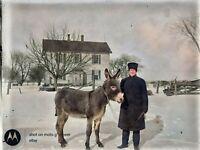 1908 Farmer with Donkey Burro Vintage Photo Dry Plate Glass Negative