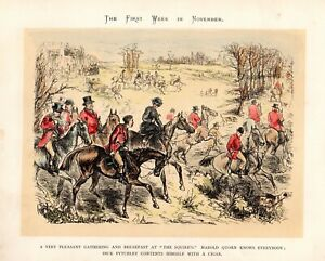 Equestrian: Horse Riding Fox Hunting Meet Antique Print G. Bowers HC c1870