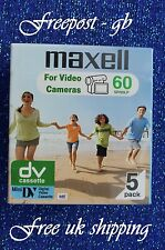 5 x Maxell Top Quality Dvm-60 Mini Dv Digital Camcorder Tapes / Cassettes - New