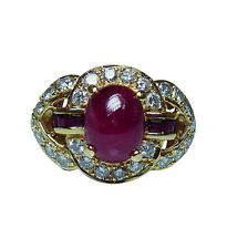 Vintage 18K Gold Diamond Ruby Ring Heavy Estate