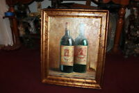 Wine Bottle Oil Painting Canvas #1 Custom Wood Frame Restaurant Wine Enthusiast