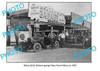 OLD LARGE PHOTO OF KILCOY GARAGE c1929 QLD SHELL COR PETROL BOWSER