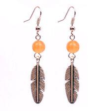 Natural Orange Chalcedony Leaf Stone Earring Aagte Bead Healing Handmade
