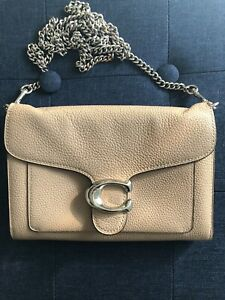 Preowned Coach Tabby Chain Clutch Taupe