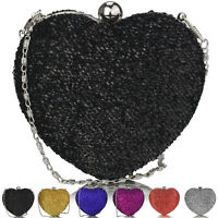 Glitter Diamante Women Hard Case Heart Clutch Bag Bridal Designer Ladies Evening