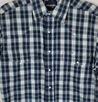 Vintage Wrangler Mens Medium Blue Plaid Pearl Snap Short Sleeve Collar Shirt