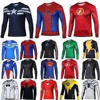 Men's 3D Marvel Superhero Compresion Sports Gym Jersey T-Shirt Long Sleeve Tops
