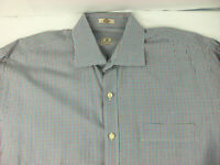 Peter Millar Mens Stretch Spread Collar Plaid Chambray Shirt Size L Large