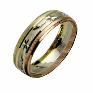 10K SOLID TRICOLOR GOLD MEN WOMEN WEDDING BAND RING SET SZ 5-13 FREE ENGRAVING
