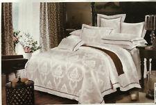 4-tlg Bettwäsche Bettgarnitur 200x220 Baumwolle Seide Garnitur Tagesdecke weiß