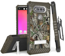 AUTUMN TREE CAMO REAL WOODS CASE with STAND + BELT CLIP HOLSTER FOR LG V20