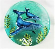 Whale fused glass hand painted plate table decor