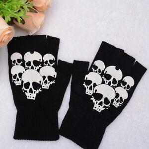 Unisex Men Women Printed Skull Knitted Fingerless Gloves Soft Fitness Gloves
