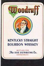 1930s Kentucky Covington Dixie WOODRUFF Straight Bourbon Whiskey Label