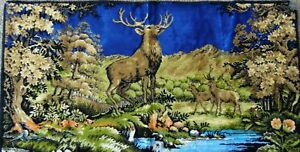 Vintage Tapestry Deer Doe Buck Elk Stag 20 x 40 Made in Italy Rayon 13379 WPL