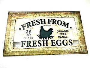 Fresh From The Farm Eggs Chicken Metal Sign Farmhouse Decor VIP Home & Garden