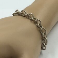 """Sterling Silver 925 Ridged Round Link Chain Bracelet w/ Springring Clasp 7"""""""