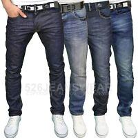 Crosshatch Mens Regular Straight Leg Classic Fit Jeans w/ Belt, BNWT