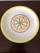 Vintage Midcentury Modern Serving Platter Chop Plate Round Yellow Orange 60s Mod