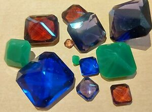 Square Cut Glass Gemstones Jewellery making, Dungeons and Dragons, D&D Gems