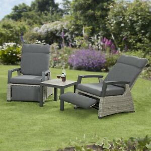 Camilla Rattan Reclining Chairs Garden Furniture Armchair Set Side Table