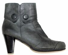 One Of 2 Gray Distressed Leather Heel Ankle  Boots Size 39 Perfect