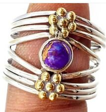 Sterling Silver 925 Purple Copper Turquoise Ring