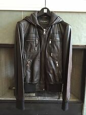 Vintage Dolce & Gabbana Leather Lambskin Bomber Jacket With Hoodie Size 50 Used