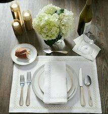 SFERRA PERRY PURE LINEN PLACEMATS, NAPKINS WITH EMBROIDERED DIAMOND BORDERS