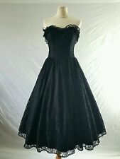 VINTAGE 80s Dress Black Lace Net Goth 50s Rockabilly BallGown Jive Party Uk 8