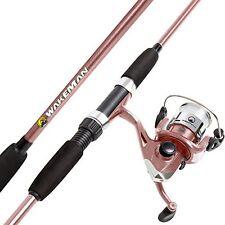 Premium Rod Pole and Reel Combo Spinning Fishing Adjustable Rose Pink Metallic