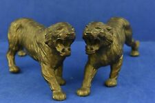 Bronze Gold Tone Heavy Metal Panther Large Cat Ornaments x 2 Collectable Home