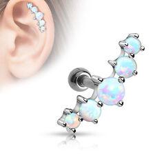 Five OPAL Ball CARTILAGE Tragus EAR Bar Barbell Earring Rings Piercing Jewelry