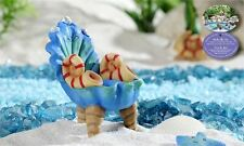 Blue Seashell Design Chair Mini Mermaid Village Resin Miniatures Decor New