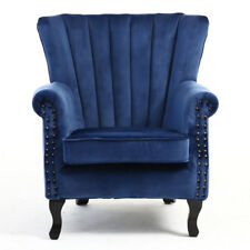 Chesterfield Wing High Back Velvet Fabric Tub Queen Anne Armchair Leather Chairs