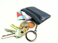 Ladies Girls Small Premium Super Soft Leather Coin Purse Key Holder Credit Card Navy Blue