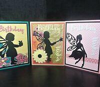 Lot of 3 Handmade Birthday Fairy Greeting Cards