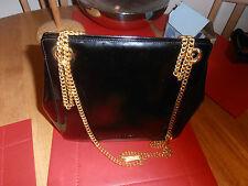 Salvatore Ferragamo Black Leather Gold Tone Chain Strap B211031 Handbag