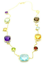 14K Yellow Gold Necklace With Cushion And Round Multi-Color Gemstones 24 Inches