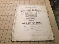 1800's sheet music : souvenir de tyrol adolf golde w/ vignette of mountain